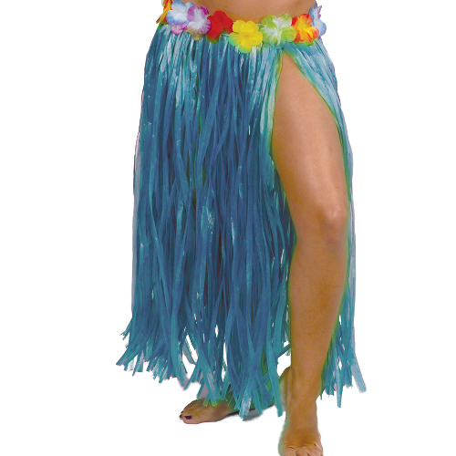 FALDA HAWAIANA LARGA,AZUL 75 CM CON FLORES