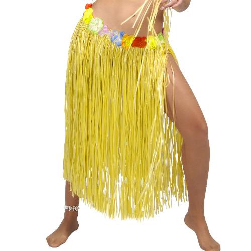 FALDA HAWAIANA LARGA,AMARILLO 75CM CON FLORES
