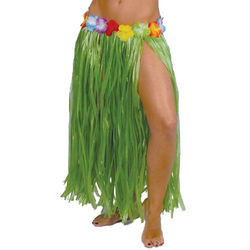 FALDA HAWAIANA LARGA 75CM,VERDE  CON FLORES